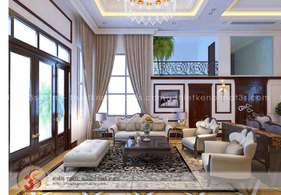 Phòng khách nổi bật với sự tương phản trong màu sắc