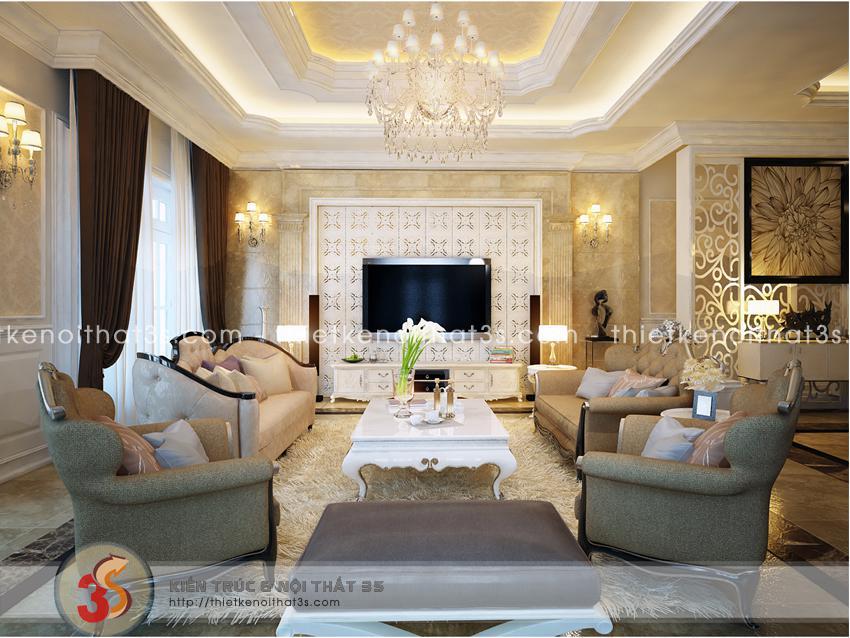 Phòng khách tân cổ điển, mang vẻ đẹp sang trọng