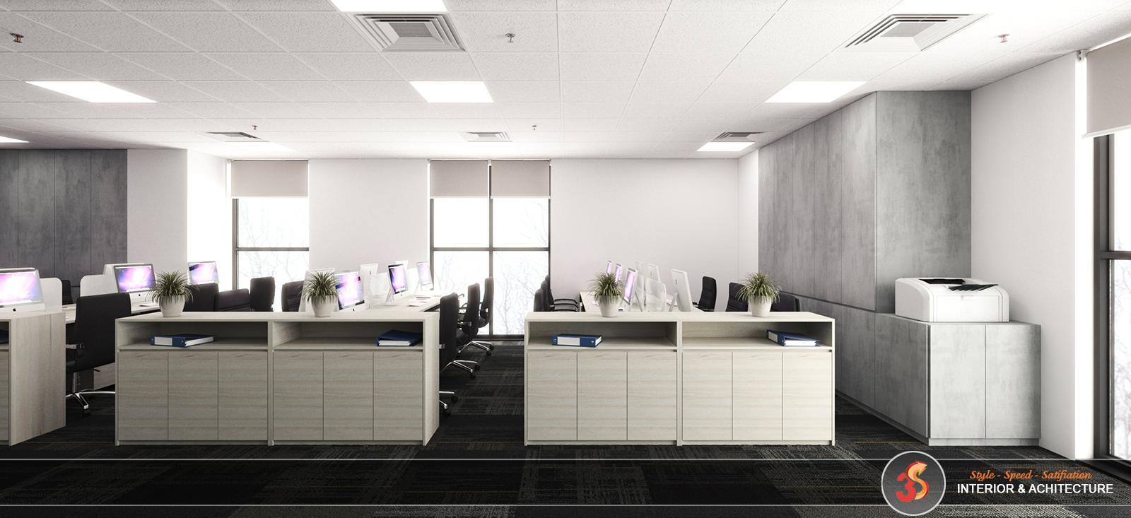 Không gian làm việc chung sáng với tông màu trắng