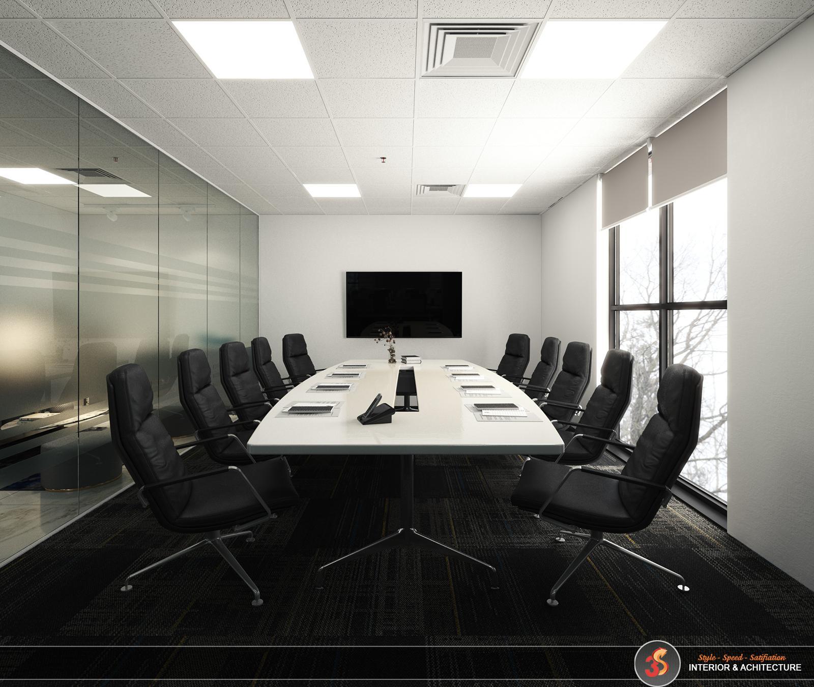 Phòng làm việc đơn giản được ngăn cách bằng kính cường lực