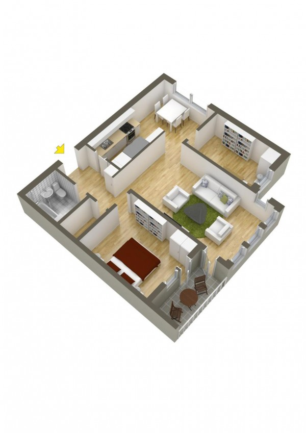 This layout puts the two bedrooms on opposite sides of the house  but with only one bathroom, that's not so convenient for one of the occupants.