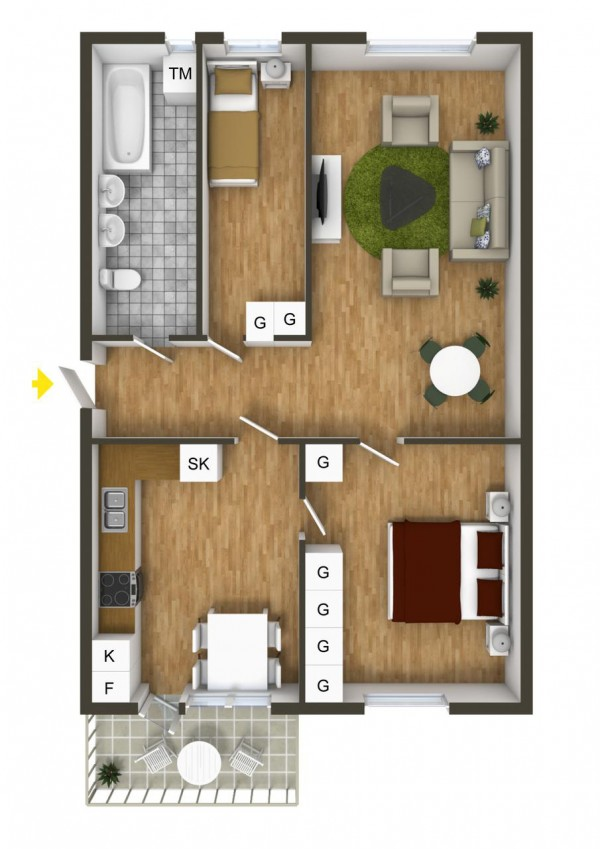 One narrow bedroom here is pretty small for roommates but might be ok for a young child or temporary guest.