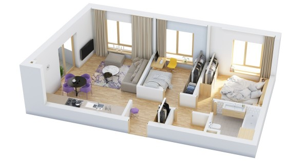 The layout of this particular home gives both bedrooms and the living room big, bright windows which is certainly a nice feature.
