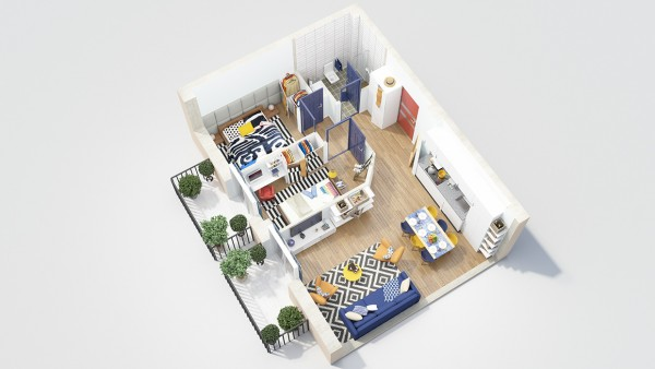 Two separate balconies make this a great two bedroom floorplan for people who like to entertain.