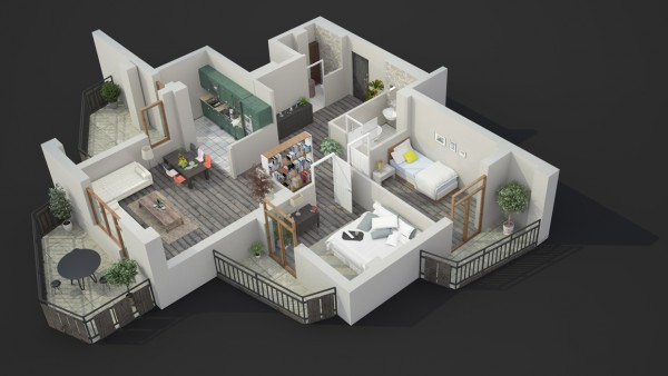 Although many modern spaces use an open floorplan, this particular one keeps things quite closed off.